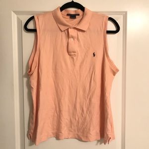 Ralph Lauren Sport Collar sleeveless peach blouse